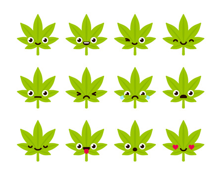 ganja: Cute emoticon set: adorable cartoon cannabis leaf with different emotions. Flat vector illustration.