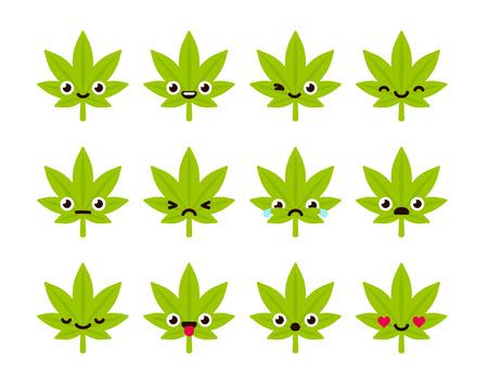 Leuke emoticon set: schattige cartoon cannabis blad met verschillende emoties. Flat vector illustratie.