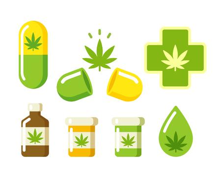 medicina natural: Iconos Marihuana medicinal: píldoras, botellas de Rx y otros símbolos medicinales de cannabis. Ilustración del vector.