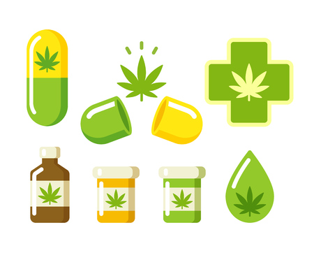 green chemistry: Medical marijuana icons: pills, Rx bottles and other medicinal cannabis symbols. Vector illustration.