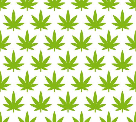 Cannabisplant naadloos patroon. Eenvoudig gestileerd marihuana bladeren op een witte achtergrond, vector illustratie.
