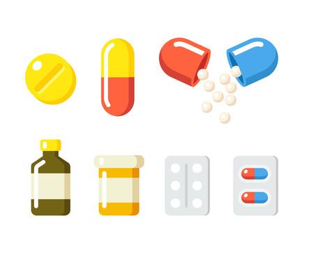 Farmaci icone: pillole, bottiglie di prescrizione capsule ans. Medicina illustrazione vettoriale in moderno stile cartoon piatta.