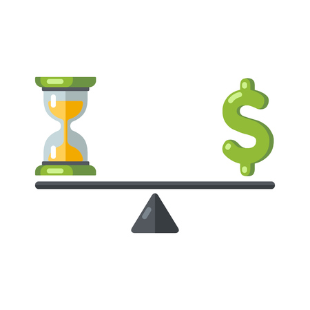 Time is money concept. Hourglass and money symbols on balance scale. Vector illustration.