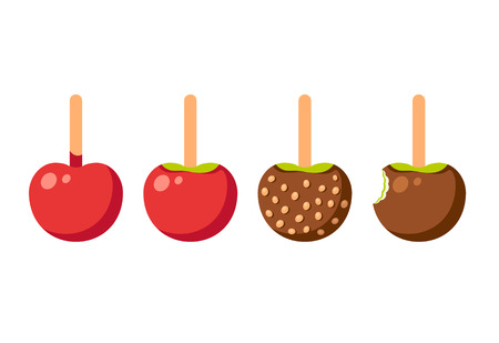 indulgence: Set of caramel apples isolated on white. Modern vector illustration.