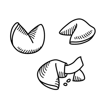 luck: Sketch style fortune cookie set. Vector illustration. Illustration