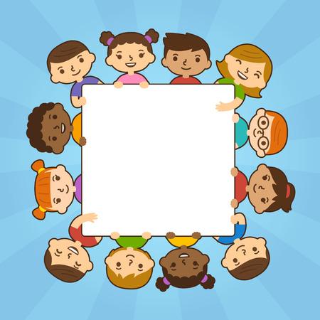 mixed race children: Cute cartoon diverse children holding blank text banner. Illustration