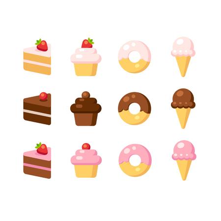 helado caricatura: Conjunto de iconos de postre de dibujos animados plana. Pasteles, bizcochos, donas y helados de diferentes sabores: vainilla, chocolate y fresa. Ilustraci�n del vector. Vectores