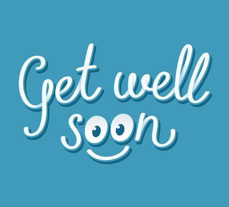 Get well soon handgeschreven kaart met leuke smiley gezicht. Vector illustratie.