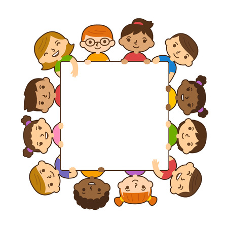 Cute cartoon diverse children holding blank text banner isolated on white background. Vector illustration.