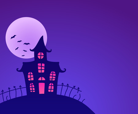 haunted: Halloween night background with haunted house and full moon. Vector illustration.