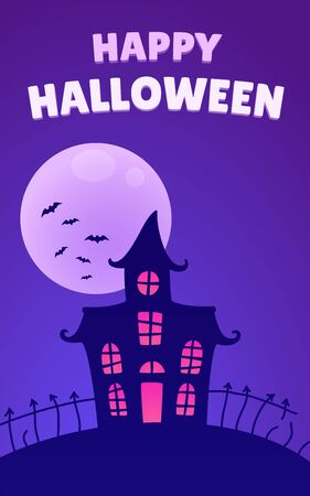 haunted: Halloween night background with haunted house and full moon. Happy Halloween text banner. Vector illustration.