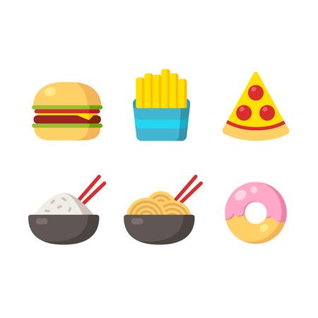 hamburguesa: Iconos de comida rápida: hamburguesas y papas fritas, pizza, comida china y un donut. Ilustración vectorial Flat. Vectores