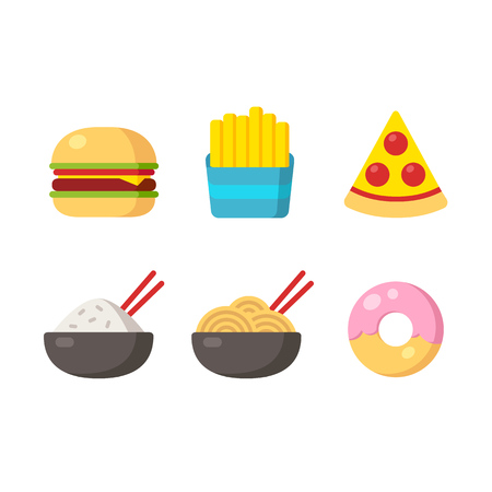 Fast food icons: burger and fries, pizza, chinese food and donut. Flat vector illustration.