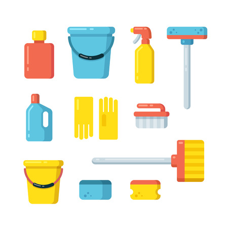 Cleaning supplies icons in flat cartoon style. Vector illustration isolated on white background.