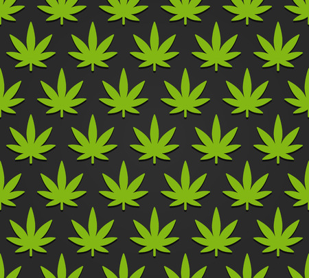 cannabis sativa: Cannabis plant seamless pattern. Simple stylized marijuana leaves on dark background, vector illustration. Illustration