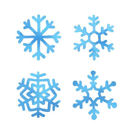 frozen winter: Set of four blue hand drawn watercolor snowflakes, vector illustration. Illustration