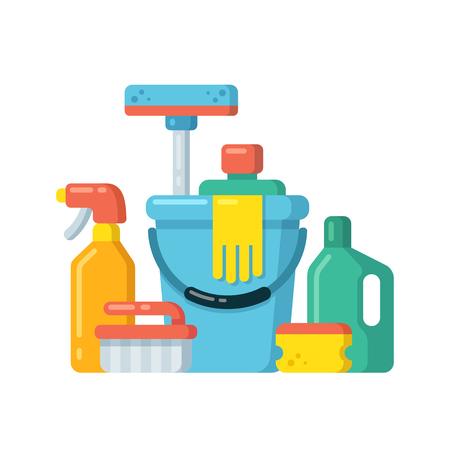productos de limpieza: Fuentes de limpieza bodegón en estilo plano de dibujos animados. Ilustración del vector. Vectores