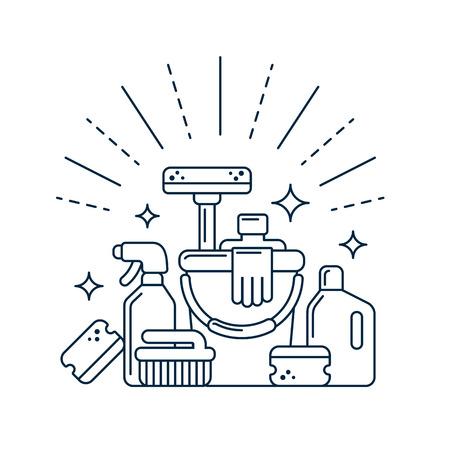 servicio domestico: Suministros en estilo de línea moderna de limpieza. Ilustración del vector. Vectores