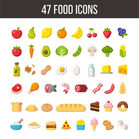 Amplio conjunto de iconos de alimentos de dibujos animados plana: carne y productos lácteos, frutas y verduras, comidas y postres. Ilustración de vector