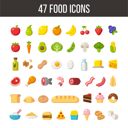 Large set of flat cartoon food icons: meat and dairy, fruits and vegetables, meals and desserts. Zdjęcie Seryjne - 46648002