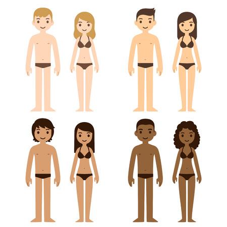 ropa interior: Diversos hombres y mujeres lindas en ropa interior. Gente de la historieta de los diferentes tonos de piel, ilustración vectorial.