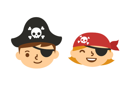 Cute pirate kids, boy and girl with eyepatches. Cartoon children vector illustration. Illustration