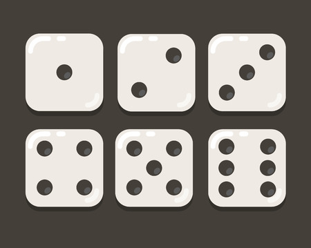 Cartoon yellow dice in modern flat vector style. Six states.