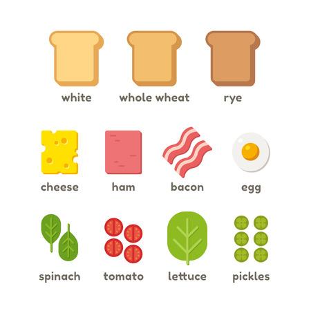 bocadillo: Ingredientes Sandwich iconos planos: pan, prote�nas y verdes. Ilustraci�n vectorial aislado. Vectores