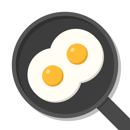 skillet: Two fried eggs on pan, top view. Food ingredients flat vector illustration isolated on white. Illustration