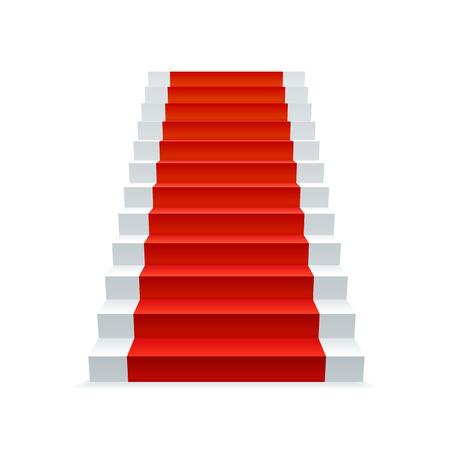 赤いカーペット、進行状況および成功の概念と白い階段。階段のベクトル図です。