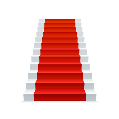 White stairway with red carpet, progress and success concept. Staircase vector illustration.