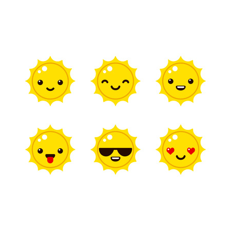 Cute sun emoticons in modern vector style. Cartoon smiley icons. Çizim
