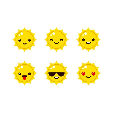 sol caricatura: emoticonos lindo del sol en el vector de estilo moderno. Dibujos animados iconos sonrientes.