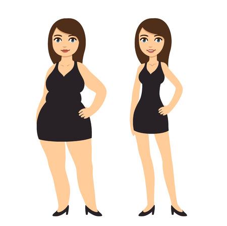 gordos: Cartoon mujer en vestido negro, flaco y con sobrepeso. La pérdida de peso antes y después de la ilustración vectorial.