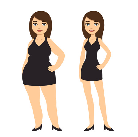 to lean: Cartoon woman in black dress, skinny and overweight. Weight loss before and after vector illustration.