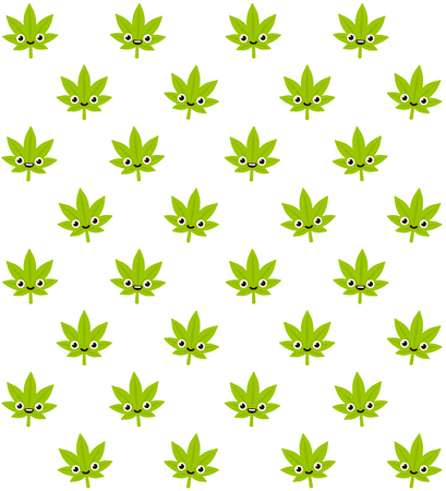 indica: Cartoon smiling cannabis plant seamless pattern. Cute stylized marijuana leaves on white background.