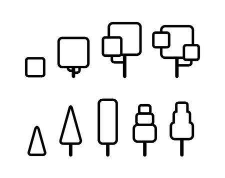 tree design: Set of stylized geometric tree outlines. Thin line vector icons.