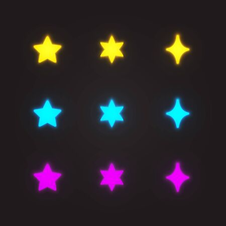 special effects: Glowing stars set, cartoon star shapes in different color. Special effects vector illustration.