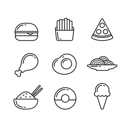 huevo caricatura: Iconos de la l�nea de comida r�pida. Restaurante y cafeter�a comidas y postres. Ilustraci�n del vector en estilo de esquema delgada.