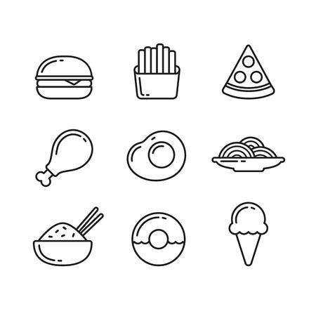 Fast food line icons. Restaurant and cafe meals and desserts. Vector illustration in thin outline style.