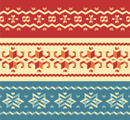 vintage wallpaper: Christmas sweater seamless pattern set, traditional winter ornaments. Vector design elements.