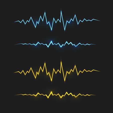 Realistische blaue und gelbe elektrische Blitzschlag. Vector Spezialeffekte Design-Elemente. Standard-Bild - 47492389