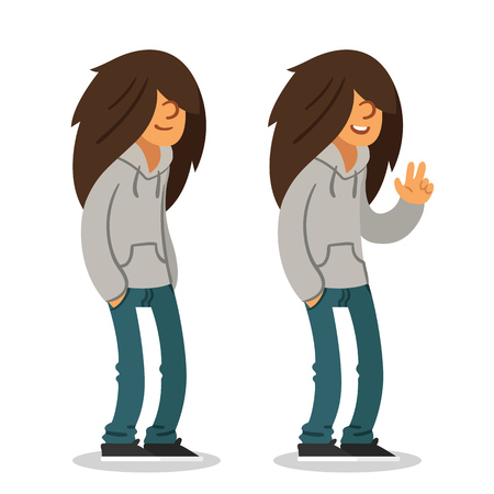 long haired: Smiling long haired teenager in two poses. Isolated vector illustration.