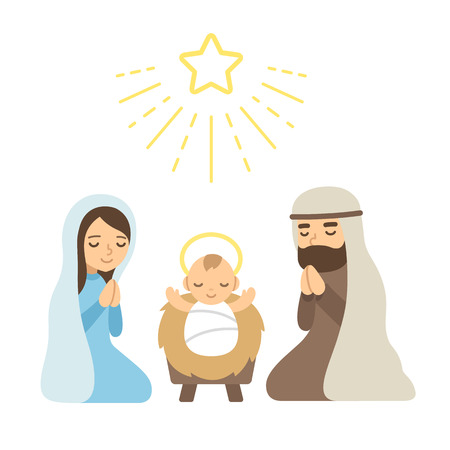 Christmas Nativity Scene with baby Jesus. Modern flat vector illustration. Vectores