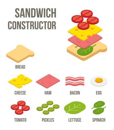 jamon y queso: Ingredientes sándwich isométricos: pan, queso, carnes y verduras. Aislado ilustración vectorial plana.