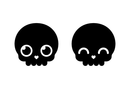 calavera caricatura: Esqueleto de dibujos animados lindo, simple icono de estilo vectorial plana. Halloween o D�a de los Muertos elemento de dise�o de ilustraci�n.