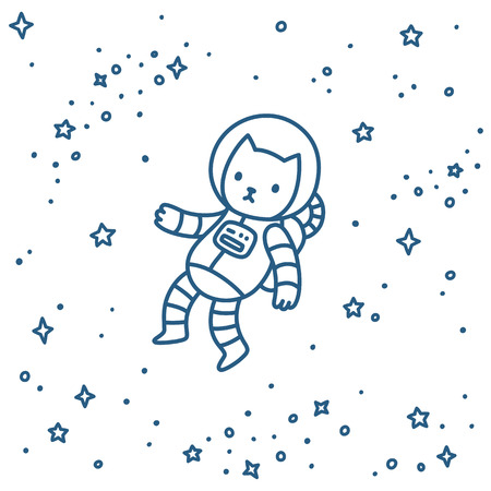 Cute cartoon astronaut cat flying in space. Hand drawn doodle style vector illustration. Иллюстрация