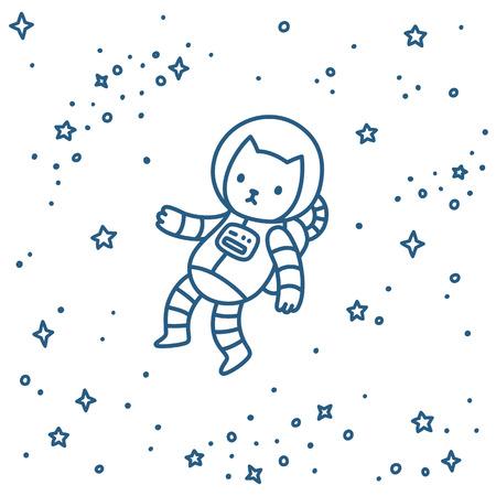 Gato lindo astronauta de dibujos animados volando en el espacio. ilustración vectorial estilo de dibujo dibujado a mano.