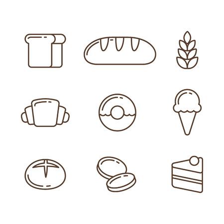 comiendo pan: Panadería icono de línea de set: panes y postres. Ilustración del vector en estilo de esquema delgada.