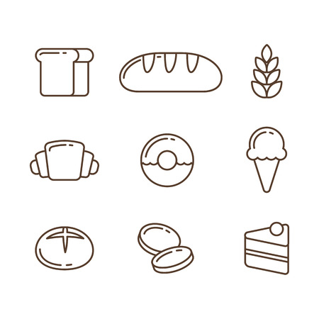 Piekarnia ikona linia zestaw: pieczywo i desery. Ilustracji wektorowych w stylu konspektu cienkiego. Ilustracje wektorowe